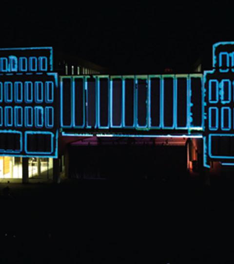 """Showarchitekten für Volksbank Heilbronn – """"3D-Videomapping"""" / bankhaus, creative production, event, show, videomapping, kunden, volksbank,"""